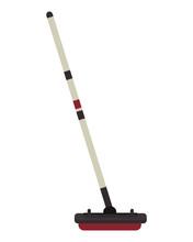 Flat Design Curling Broom Icon Vector Illustration
