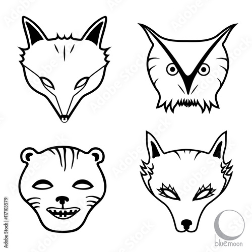 Animal Faces Or Masks Fox Owl Cougar And Wolf Logo Or Design In