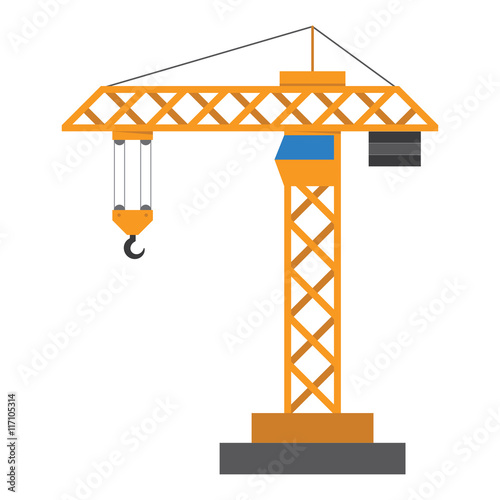 Construction crane in a flat style Wallpaper Mural