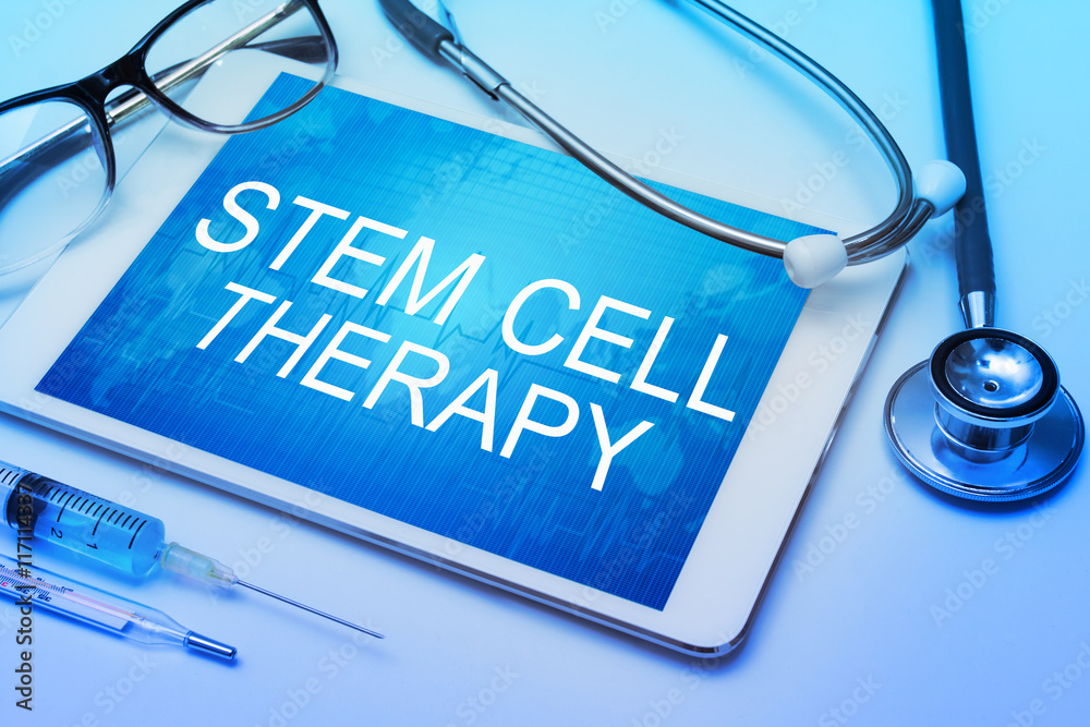 Fototapety, obrazy: stem cell therapy word on tablet screen with medical equipment on background