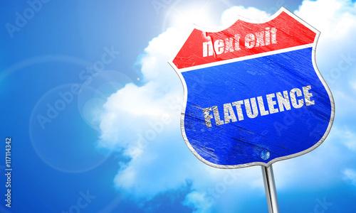 flatulence, 3D rendering, blue street sign Canvas-taulu