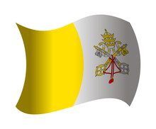 Vatican City Flag Waving In The Wind