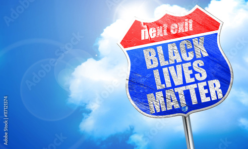 Fotografia, Obraz  black lives matter, 3D rendering, blue street sign