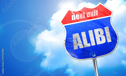 alibi, 3D rendering, blue street sign Canvas Print