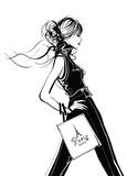 Ładna kobieta zakupy w Paryżu - 117125391