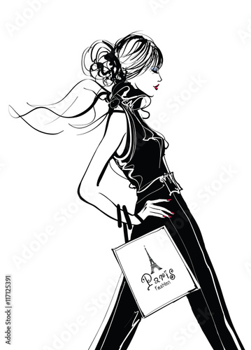 Door stickers Art Studio Pretty Woman shopping in Paris