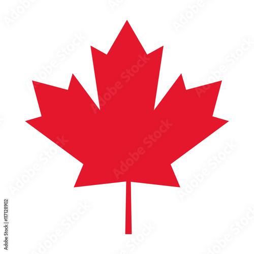 Foto flat design canada flag maple leaf icon vector illustration