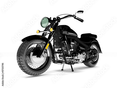 Fotobehang Fiets Black isolated classic motorcycle.