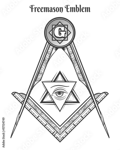 Freemason Square And Compass Vector Freemasonry Signs And Mason