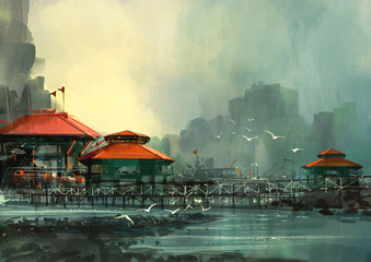 Fototapetalandscape of beautiful harbor,fishing village,digital painting
