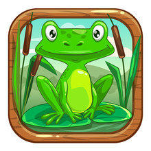 Little Green Frog Sitting On T...