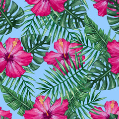 FototapetaWatercolor hibiscus flower and palm leaves seamless pattern. Vector illustration.