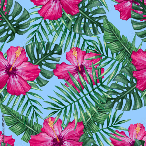 Watercolor hibiscus flower and palm leaves seamless pattern. Vector illustration. - 117140399
