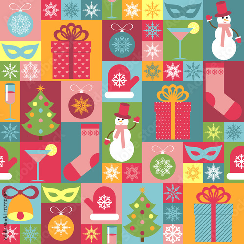 Cotton fabric Seamless Christmas pattern. It can be used for decorating of wrapping paper, invitations, cards.