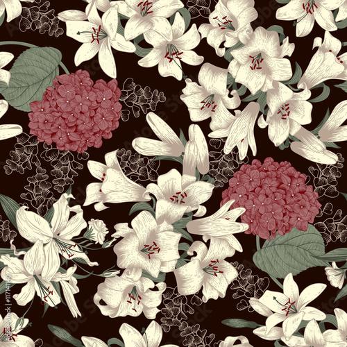 biala-lilia-bezszwowe-tlo-wektor-tekstury-roslin-styl-vintage-botanika-kwiaty