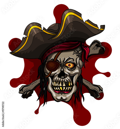 Danger pirate skull in red bandanna and crossbones Poster