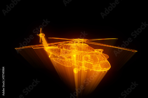 obraz dibond Wireframe Hologram Helicopter in Motion. Nice 3D Rendering