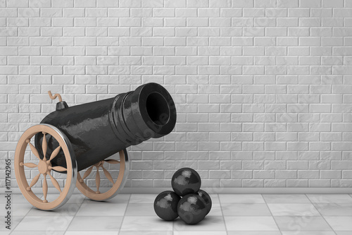 Valokuva Old Pirate Cannon. 3d Rendering