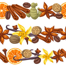 Seamless Borders With Various Spices. Illustration Of Anise, Cloves, Vanilla, Ginger And Cinnamon