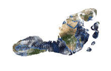 Real Imprint Of Child Foot Combined With A Map Of Our Blue Planet Earth - Isolated On White Background. Elements Of This Image Furnished By NASA
