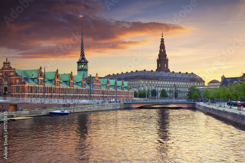 Copenhagen. Image of Copenhagen, Denmark during beautiful sunset. Wallpaper Mural