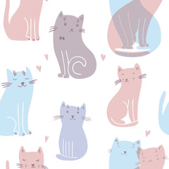 Vector seamless pattern with cats in love