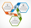 Abstract hexagon business options infographics template.