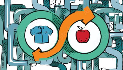 barter commerce trade transaction economic concept exchange swap goods Canvas Print