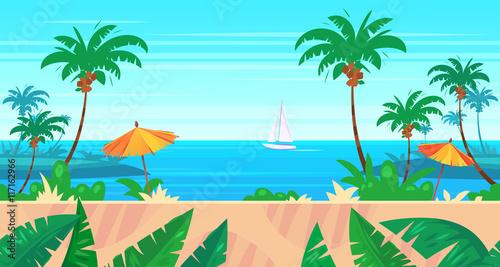 Spoed Foto op Canvas Turkoois Cartoon nature seamless landscape with sea and palm