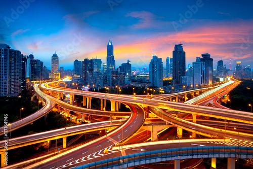 Foto op Aluminium Shanghai Shanghai elevated road junction and interchange overpass at night, Shanghai China
