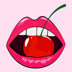 Fototapeta Owoce Isolated sensual woman pink lips with cherry