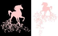 Horse Among Tree Blossom