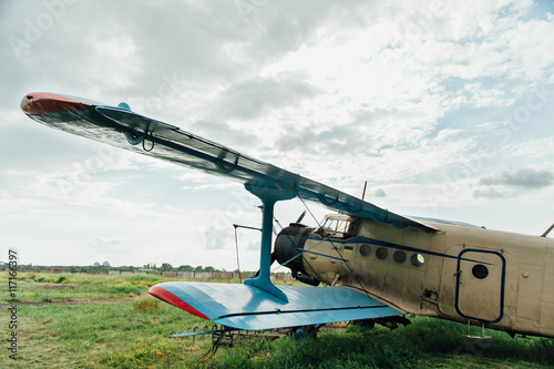 Deurstickers Oude auto s Airplanes standing on green grass. Ukraine, 2016