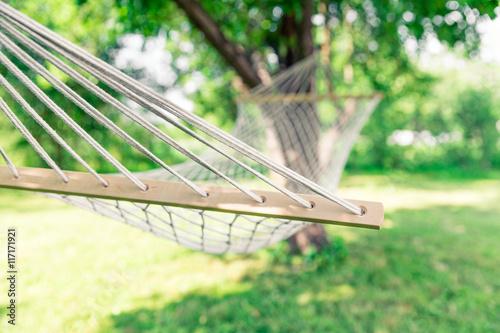 White hammock among the trees Canvas Print
