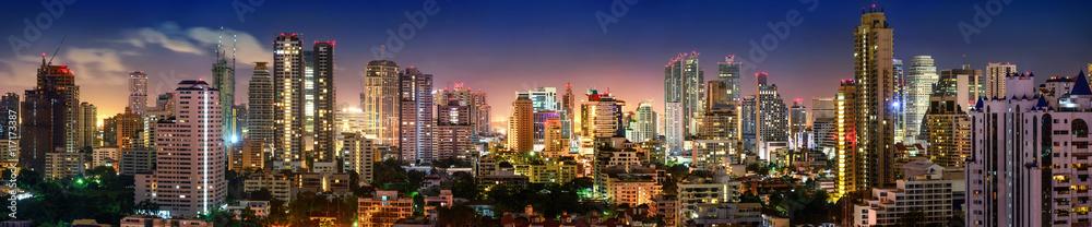 Fototapeta Panorama von Bangkok Skyline in der Nacht