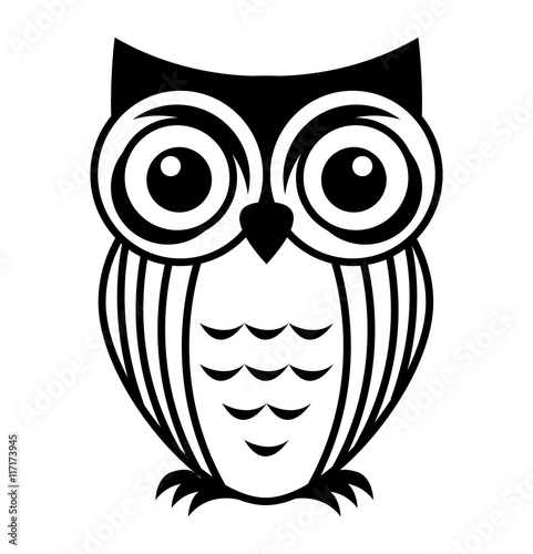 Deurstickers Uilen cartoon owl bird cute icon