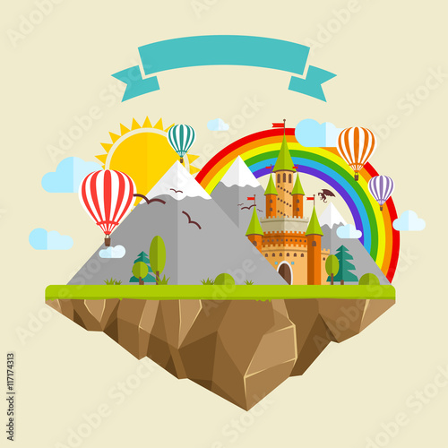 Poster Kasteel Flying island with Fairy Tale Castle, Balloons, Mountains, Clouds, Trees, Sun, Rainbow, Dragon and Ribbon