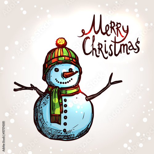 In de dag Retro sign Christmas Card With Hand Drawn Snowman