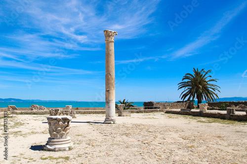 The old Roman empire ruins in Carthage - Tunisia