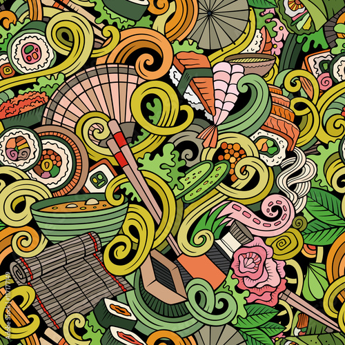 Cartoon hand-drawn doodles of japanese cuisine seamless pattern - 117177149