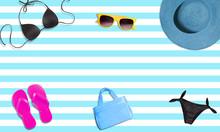 Summer Fashion Items. Bikini,hat,sunglasses,purse And Flip Flops On Blue Stripe Background. Isolated. Woman Summer Fashion Image.