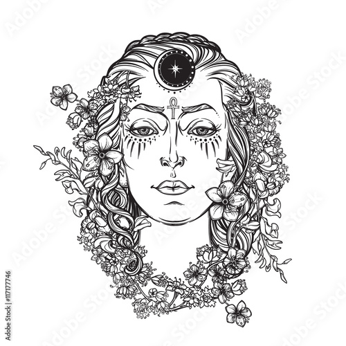 Fotografie, Obraz  White goddess BW sketch
