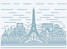 Paris City Skyline View With Eiffel Tower, Triumphal Arch, The National Residence Of The Invalids, Louvre, Pyramid, Cathedrals, Buildings, Fountains And Other Attractions. Flat Style.