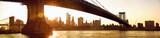 Fototapeta Nowy Jork - Manhattan skyline panorama under Manhattan Bridge at sunset, New York