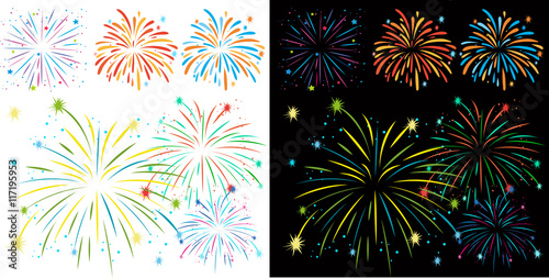 Photo Fireworks on black and white background