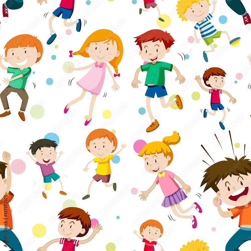 Fototapeta Bezszwowe tło z szczęśliwe dzieci