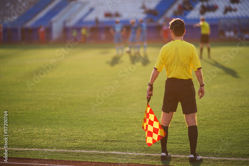 referee soccer. referee is on the field Canvas Print