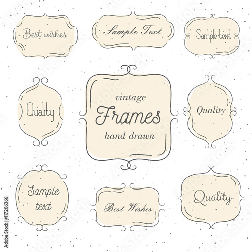 Set Of Vintage Hand Drawn Pink Frame Vector Illustration
