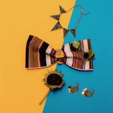 Summer Fashion Accessories, Costume Jewelry And Striped Top. Cou