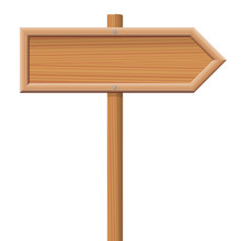 Wooden Signpost Fixed On A Wooden Pole.
